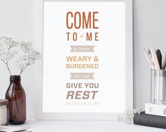 Bible Verse Art  - Matthew 11:28 - Scripture Print