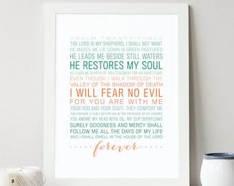Psalm 23 - Bible Verse Art - Scripture Typographic Print - Christian Decor - Art Prints & Posters - Scripture Typography