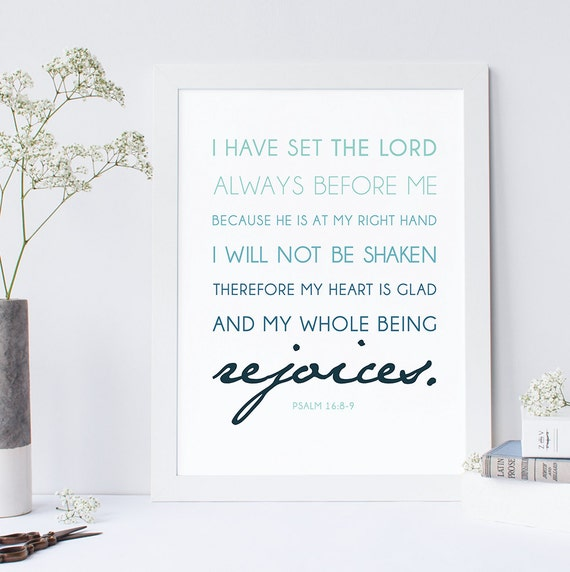 INSTANT DOWNLOAD - Psalm 16:8-9 - Bible Verse Wall Art - Scripture Print -  DIY Printable - Christian Print