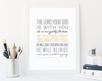 Bible Verse Art  -  Zephaniah 3:17 - Scripture Print - Encouraging Wall Quote - Scripture Typography