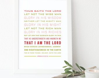 Bible Verse Art - Jeremiah 9:23-24 -King James Verstion - Scripture Art
