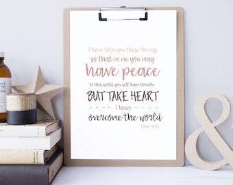 Bible Verse Art - John 16:33 - Scripture Print