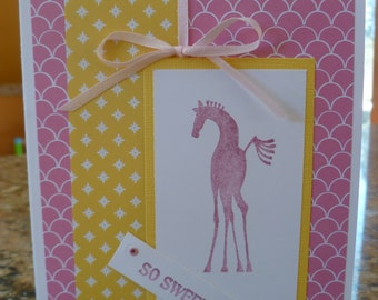 Horse sweet baby card, in pink and yellow.