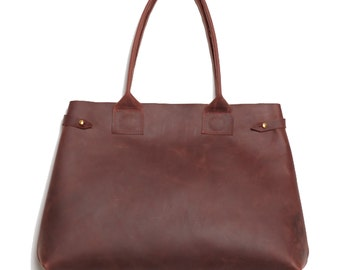 0425ff51715 The Cocoon handmade Mahogany deep chocolate brown burgundy waxed oiled  leather Large expandable shopper TOTE bag, brass hardware
