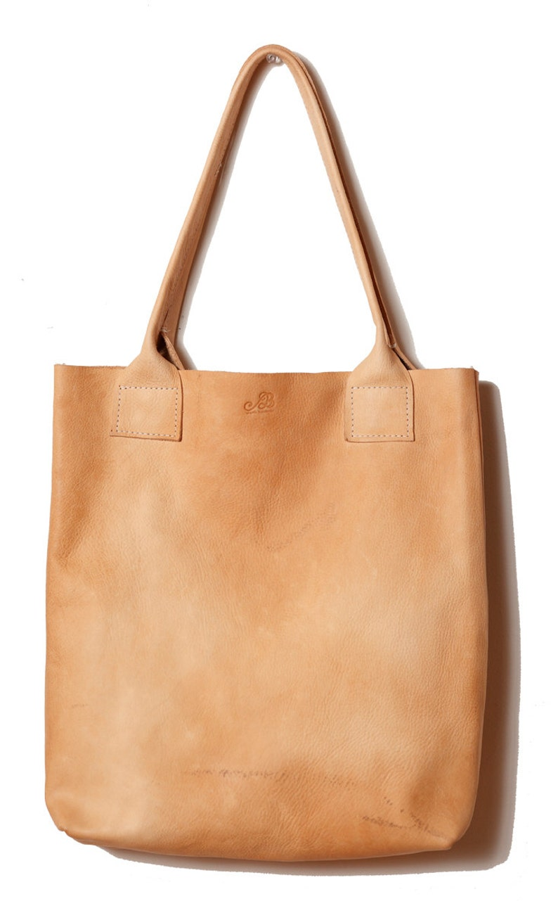 6528988c00c1 Handmade PURE vegetable tanned leather natural floppy shopper