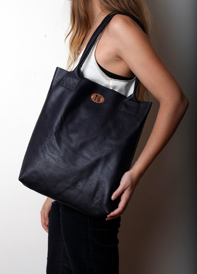 cacd7415a5f Handmade PURE vegetable tanned leather natural floppy shopper   Etsy