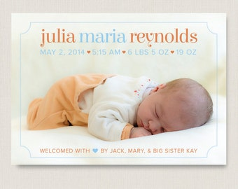 Cute Birth Announcement / Customized Photo Card / for newborn baby girl & baby boy / A printable, personalized modern card / multiple colors