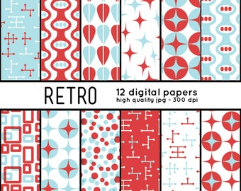 Retro SHAPES 12 Digital Papers pattern set scrapbook, blog, invites, crafts, mcm, mid century, blue, red, scarlet, parties, 50s, 1950s