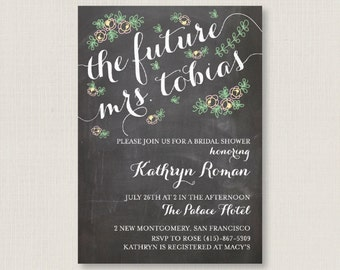 Elegant bridal shower party invitation / A digital, printable, and customizable classy card #04