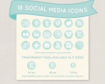 Mint Green Watercolor Social Media Icon Set - 18 pretty icons to use for your blog, website, or portfolio. Available in multiple sizes!