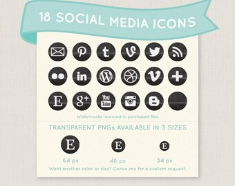 Chalkboard Social Media Icon Set - 18 unique and pretty icons to use for your blog, website, or portfolio. Available in multiple sizes!