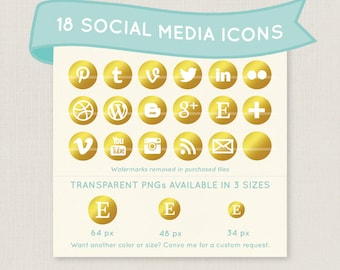 Gold Social Media Icon Set - 18 unique and pretty icons to use for your blog, website, or portfolio. Available in multiple sizes!