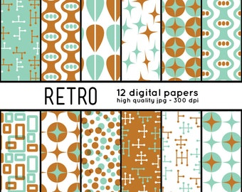 Retro SHAPES 12 Digital Papers pattern set scrapbook, blog, invites, crafts, mcm, mid century, brown, teal, green, parties, 50s, 1950s