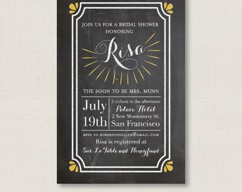 Elegant bridal shower party invitation / A digital, printable, and customizable classy card #01