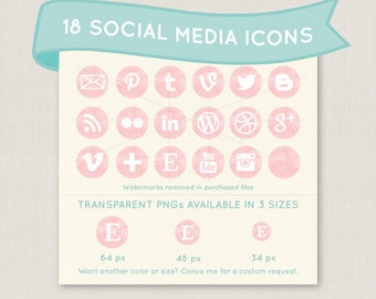 Soft Pink Watercolor Social Media Icon Set - 18 pretty icons to use for your blog, website, or portfolio. Available in multiple sizes!