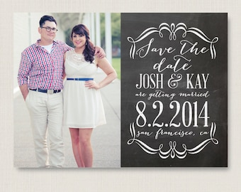 Chalkboard style save the date. Modern and clean wedding announcement, available as a postcard. Completely customizable and printable. #04
