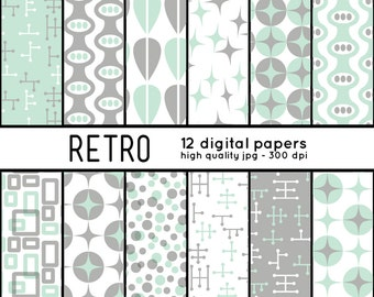 Retro SHAPES 12 Digital Papers pattern set scrapbook, blog, crafts, mcm, mid century, gray, teal, turquoise, sea foam green, mint 50s, 1950s
