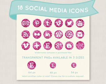 Sparkly Hot Pink Glitter Social Media Icon Set - 18 unique and pretty icons to use for your blog, website, or portfolio. In multiple sizes!