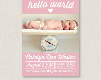 Multiple Colors / Custom Baby Birth Announcement Photo Card / for newborn baby girl & baby boy / A printable, personalized modern card