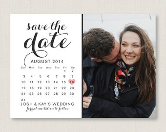 Calendar style save the date. Modern and clean wedding announcement, available as a postcard. Completely customizable and printable. #07