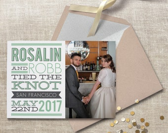 Elopement announcement. Modern wedding announcement, available as a postcard. Printable courthouse wedding announcement. #57