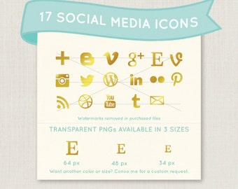 Gold Social Media Icon Set - 17 unique and pretty icons to use for your blog, website, or portfolio. Available in multiple sizes!
