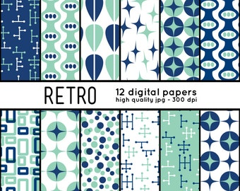 Retro SHAPES 12 Digital Papers pattern set scrapbook, blog, crafts, mcm, mid century, blue, teal, turquoise, sea foam green, 50s, 1950s