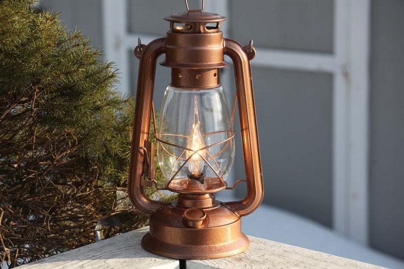 Lampade Rustiche In Rame : Lampada da tavolo di lanterna elettrica rame lanterna etsy