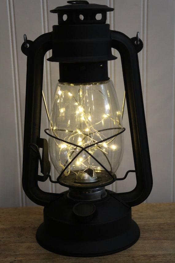 table lamp battery operated lantern flat black led fairy etsy. Black Bedroom Furniture Sets. Home Design Ideas