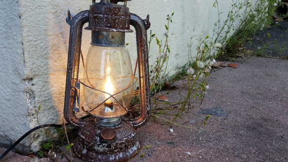 Electric Lantern Table Lamp Rustic Rusty 12 High With Etsy
