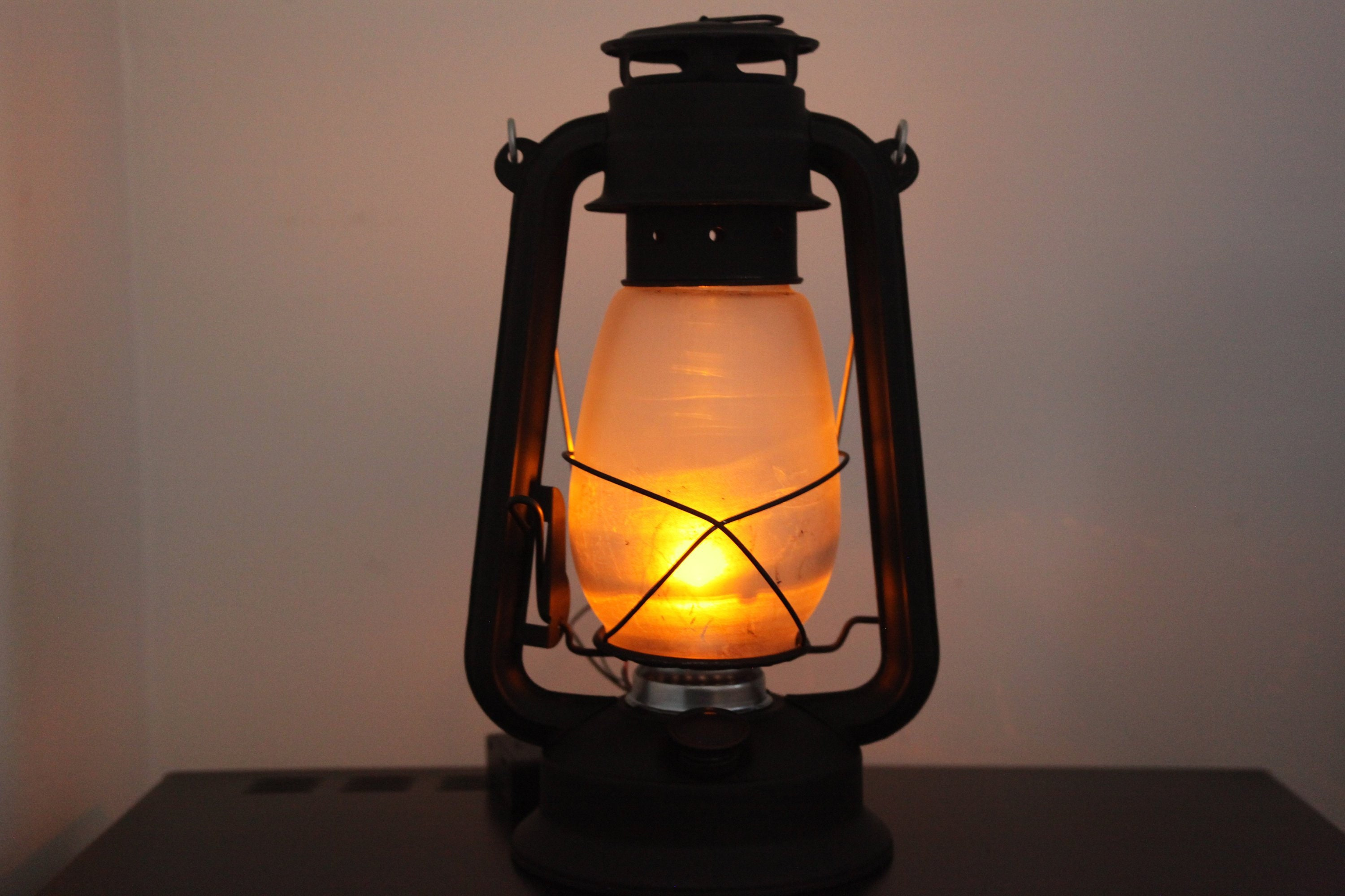 Battery Operated LED Lantern Table Lamp FLAT BLACK ...