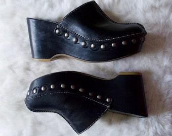 dark matter 90s black leather clogs / platform clogs / studded clog / grunge / black wedges / wedge clogs / boho clogs