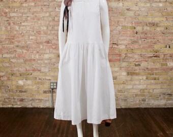 white cotton dress / dropwaist dress / cotton midi dress / white midi dress / vintage sundress / full skirt dress / collared dress / small