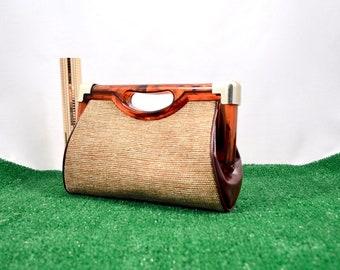 tortoise shell clutch / vintage clutch / carpet bag / carpet clutch / top handle / small clutch / 70s clutch / beige