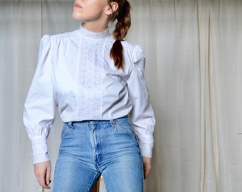 eyelet puff sleeve blouse / high neck top / white blouse / button back / big sleeve top / white cotton blouse / lace front blouse / small