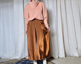 copper culottes / wide leg crops / metallic pants / high waist / vintage culottes / pleated crops / pleated pants / shiny pants / trousers