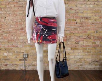 graffiti mini skirt / 90s mini skirt / shiny mini skirt / novelty / small mini skirt / streetwear mini / snake mini / statement skirt