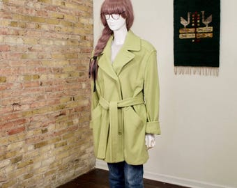minimalist green coat / oversized coat / boxy coat / 90s minimalist / large / menswear inspired / overcoat / pale green coat / pastel / 90s