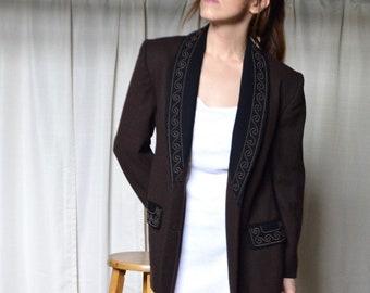 colorblock wool blazer / small womens blazer / long line blazer / boyfriend blazer