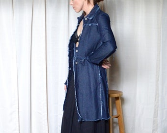 90s denim trench / deconstructed / raw hem denim / long jean jacket / 90s jean jacket / long denim jacket / minimalist / fitted trench / s