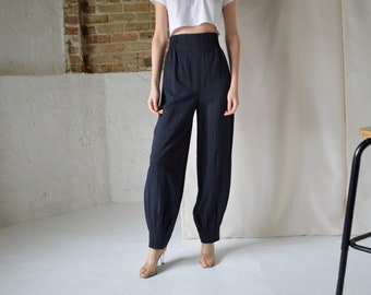 b6bc0c54039ca high waist striped damask pleat cuff trousers / joggers