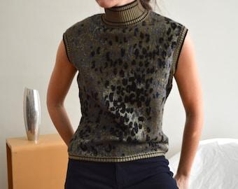 EMANUEL UNGARO Black Sweater Knit Top Turtleneck Sleeveless Shell Wool Silk Sz M