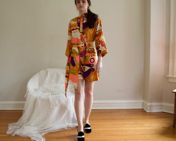 70s psychedelic shift mini dress - image 5