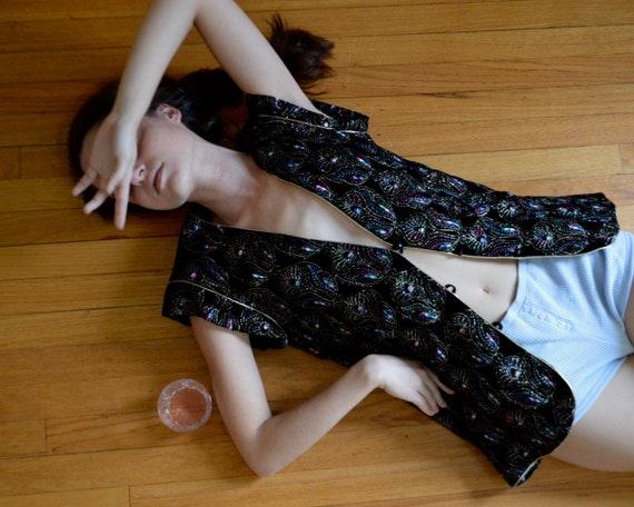 emanuel ungaro velvet embroidered long line vest /