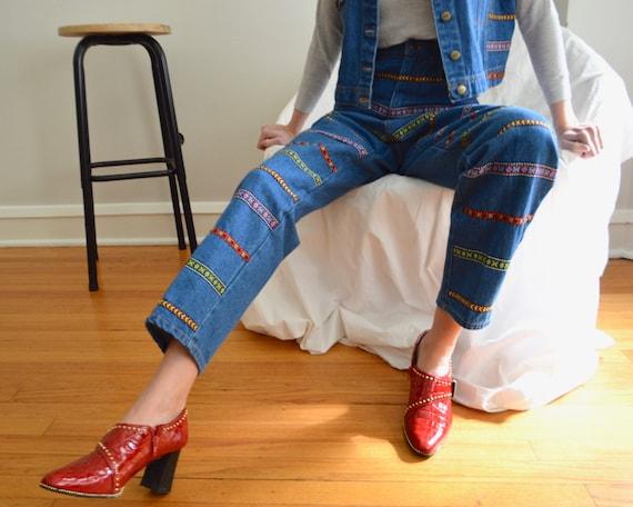 denim vest and jean embroidered set / tapered