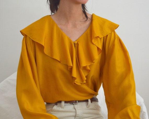 marigold silk ruffle ballow sleeve blouse - image 4