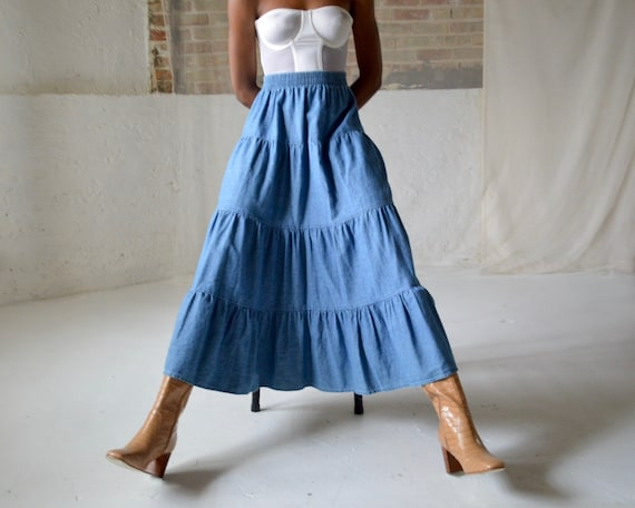 denim tiered circle skirt / ankle length skirt - image 1