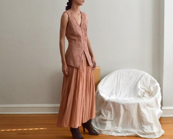 crochet vest and pleated skirt set