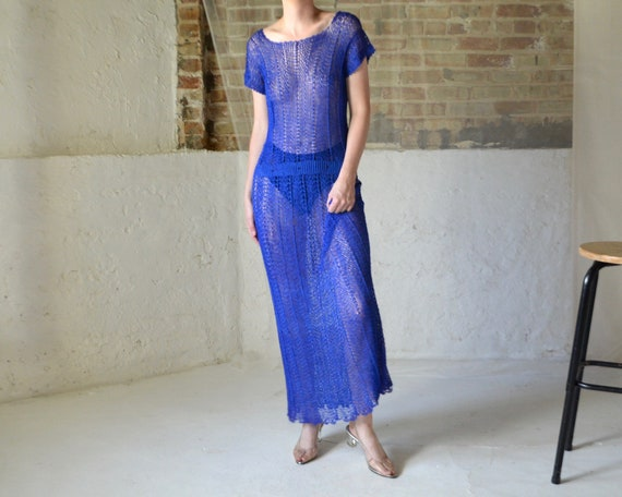 nylon net crochet maxi dress