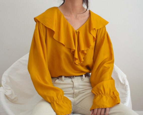 marigold silk ruffle ballow sleeve blouse - image 2